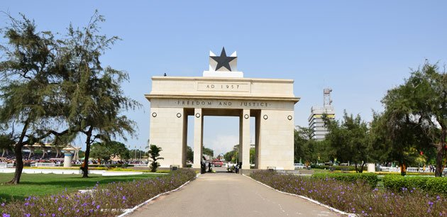 View of the Independence Black Square Arch in Accra
