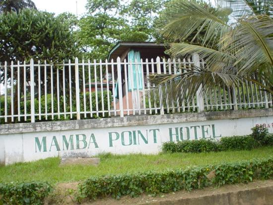 View of Mamba Point Kampala hotel sign