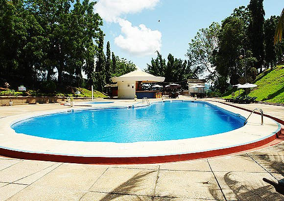 Outdoor pool area of Volta Hotel